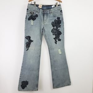 NWT Express Flare Jeans Black Lace &  Gemstones